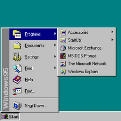 "Windows 95 ""Start"" menu including ""Shut Down"" option"