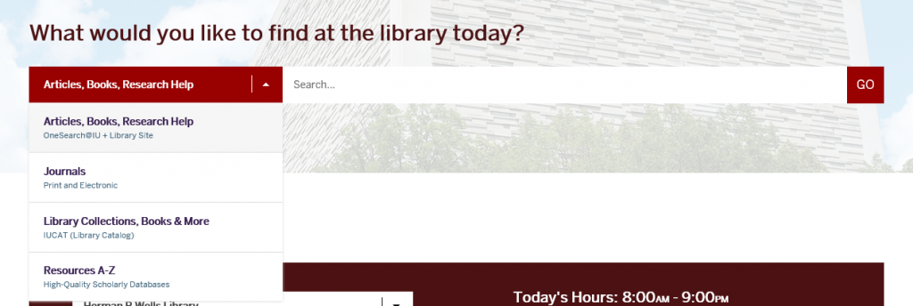 Search box on the Libraries' website