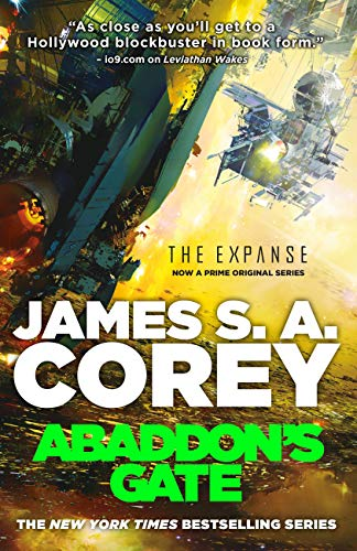 Cover of Abaddon's Gate which features what looks like two or three metal spaceships.