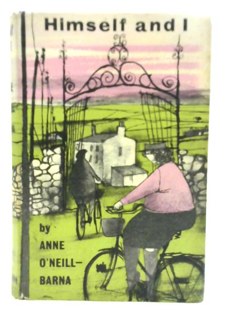 The cover of Himself and I features two people on bikes, one a woman, riding into a gated area with a stone fence and building in the distance.