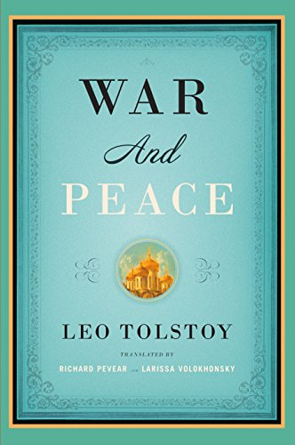 Light blue cover of War and Peace by Leo Tolstoy