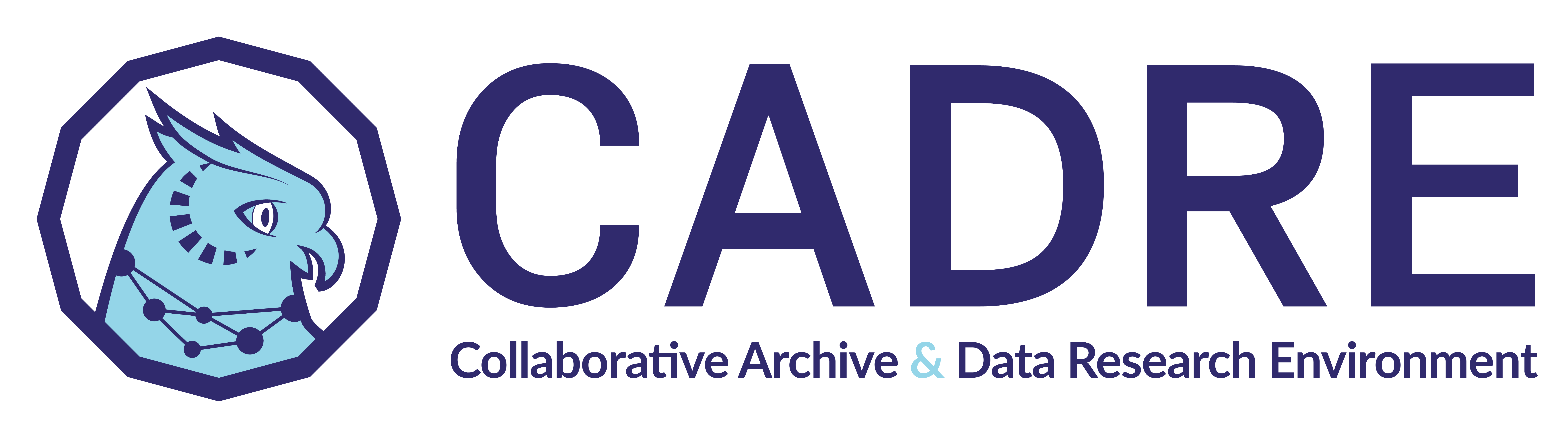 "This logo includes an image of a blue owl with a network illustration around its neck, along with the letters ""CADRE"" which the logo says stand for: Collaborative Archive and Data Research Environment."