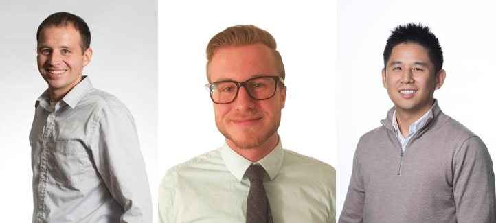A combined photo of three researchers who are men.