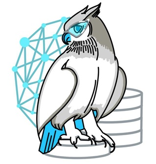 This image shows a detailed drawing of a blue and grey owl. The owl wears glasses and is perched on databases. There is a blue network image in the background.