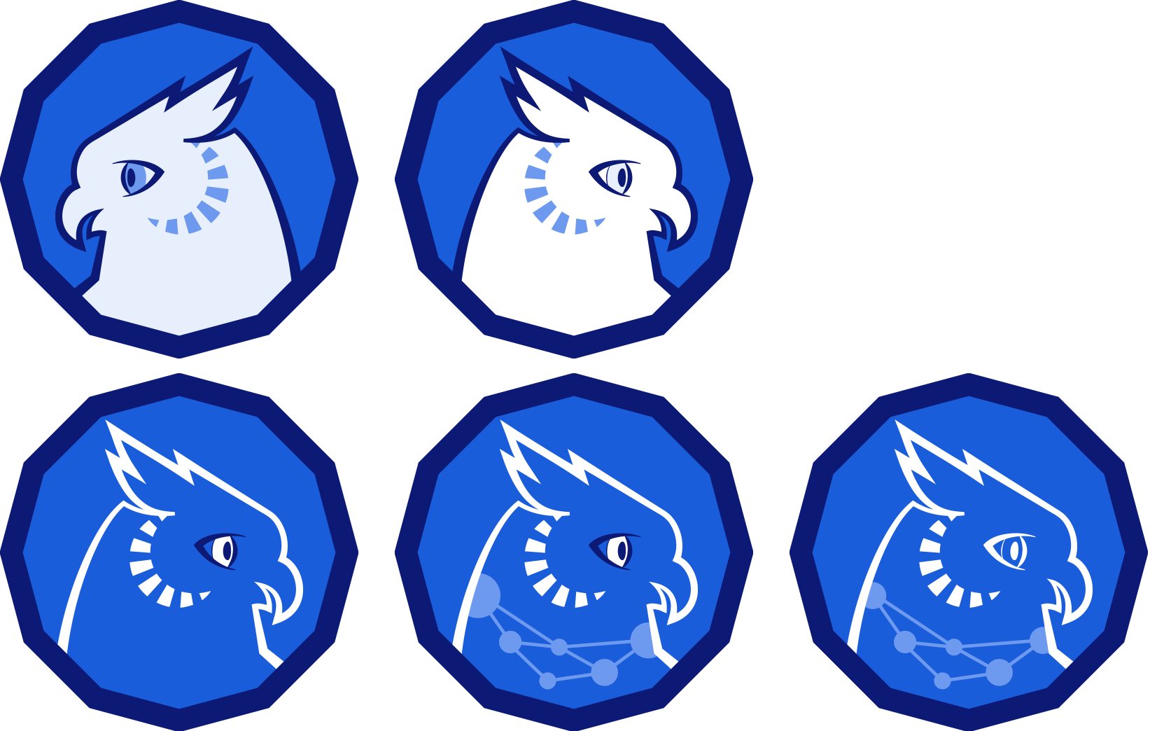 Five different versions of an illustrated owl: Two owls are white and facing opposite directions; the other three owls have various features including a network around their next and facial disks.