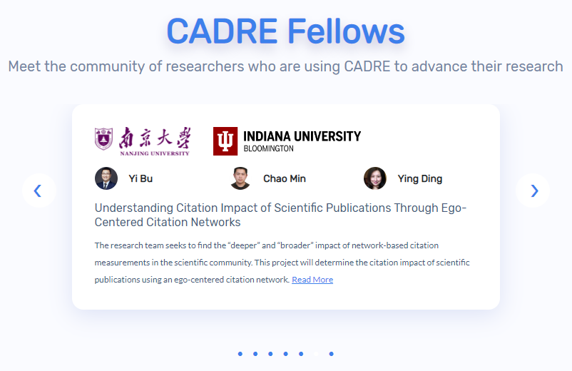 "A screen shot of a website that says ""CADRE Fellows"" and shows the pictures of three fellows and a short description of their research project."
