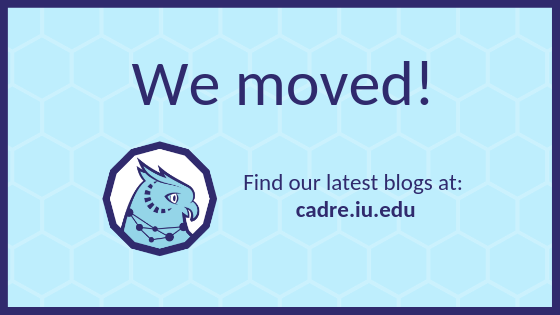 "A banner with an owl on it that says: ""We moved! Find our latest blogs at cadre.iu.edu."""