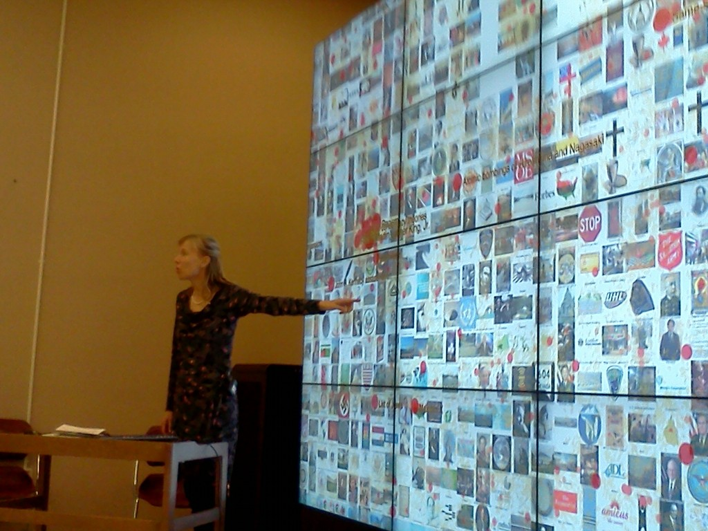 Image 1: Dr. Katy Börner presents a visualization based on open Wikipedia data