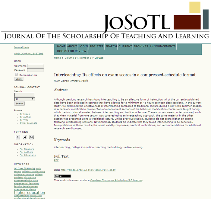 An example of an article with a DOI in the Journal of the Scholarship of Teaching and Learning.