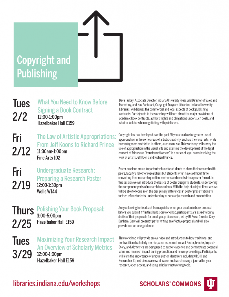 Schedule of copyright and publishing workshops