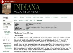 Image 1: Screenshot of Indiana Magazine of History homepage