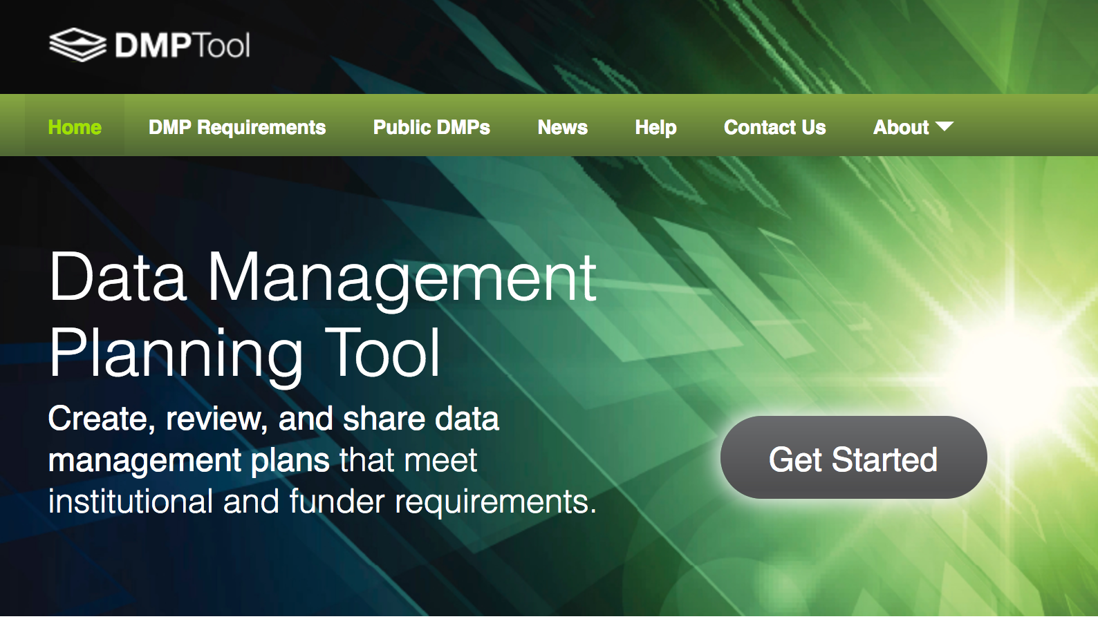 Image 1: Data Management Planning Tool (dmptool.org) homepage