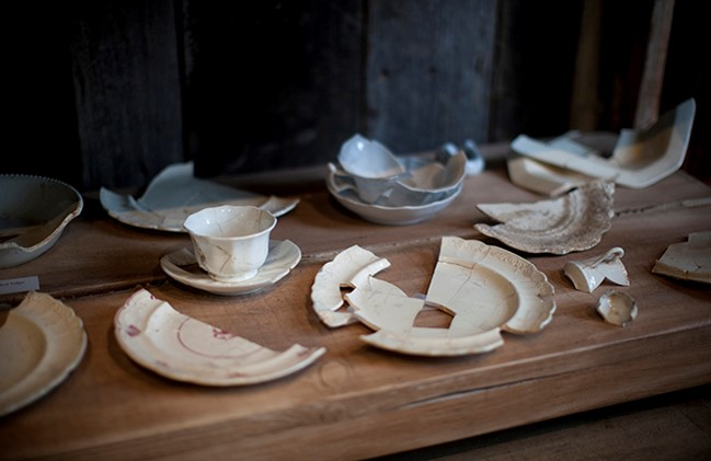 broken pieces of teaset china